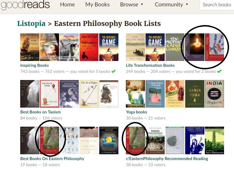Eastern Philosophy recommended books Goodreads list with A-Ma and Mindfulness Training Books