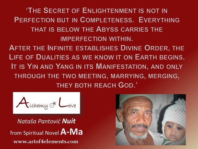 Secret of enlightenment from Ama Alchemy of Love Historicl Spiritual Ficition Book by Nataša Pantović Nuit