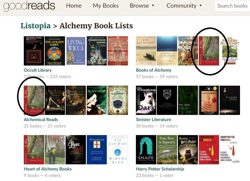 A-Ma featured in some interesting Goodreads Best Books Lists during 2017: Books on Alchemy, Heart of Alchemy and Alchemy Reads  as voted by readers